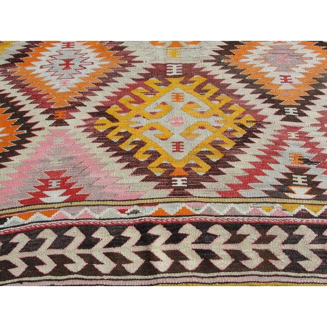Vintage Turkish Kilim Rug - 5′2″ × 7′7″ For Sale - Image 9 of 11