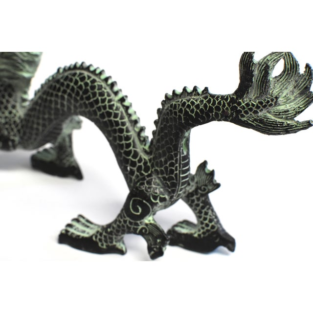"""Bronze Dragon With Fire Ball 11.5"""" Wide For Sale - Image 12 of 13"""