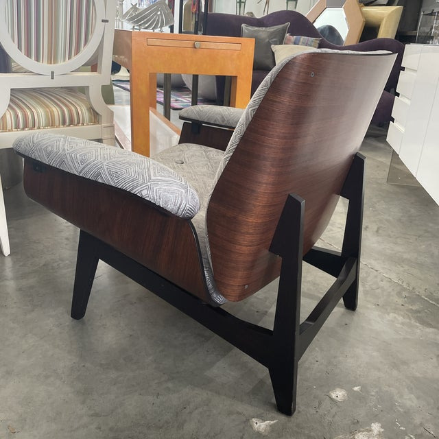 1970s 1970s Gray Upholstered Mid-Century Style Arm Chair For Sale - Image 5 of 12