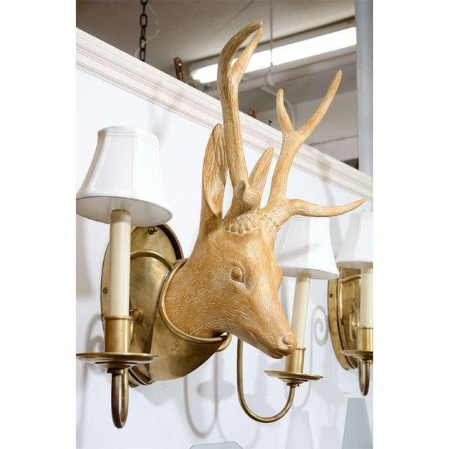 Mid-Century Modern Fantastic Surrealist Pair of Deer Head Sconces For Sale - Image 3 of 4