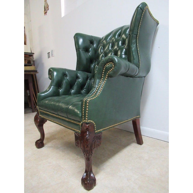 Vintage Chesterfield Style Tufted Ball & Claw Chippendale Wingback Chair - Image 3 of 11