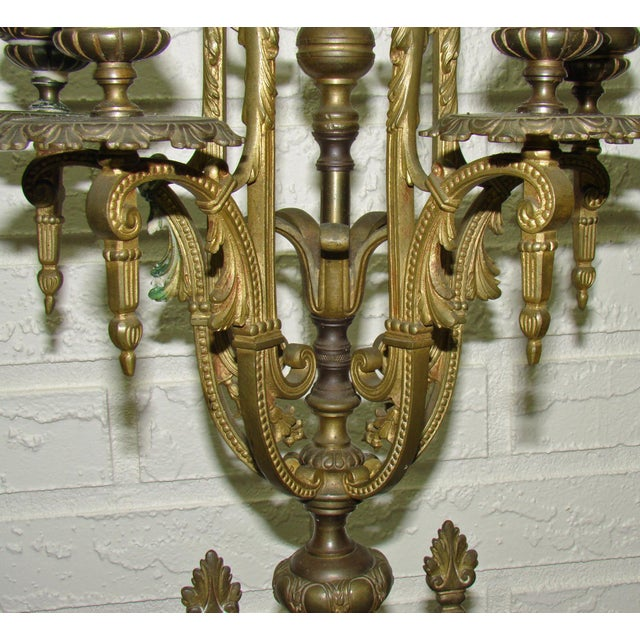 Huge Antique Victorian Neoclassical Bronze & Marble Candelabras - a Pair - Image 7 of 11