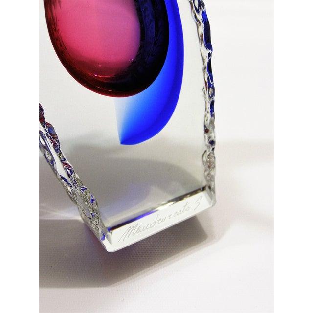 Italian Mandruzzato Murano Sommerso Glass Vintage Mid-Century Modern MCM Blue Red Vase Venetian - Image 10 of 11