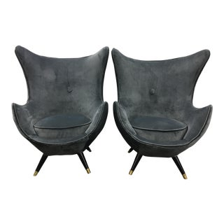 1960s Vintage Mid Century Italian Velvet Egg Chairs - a Pair