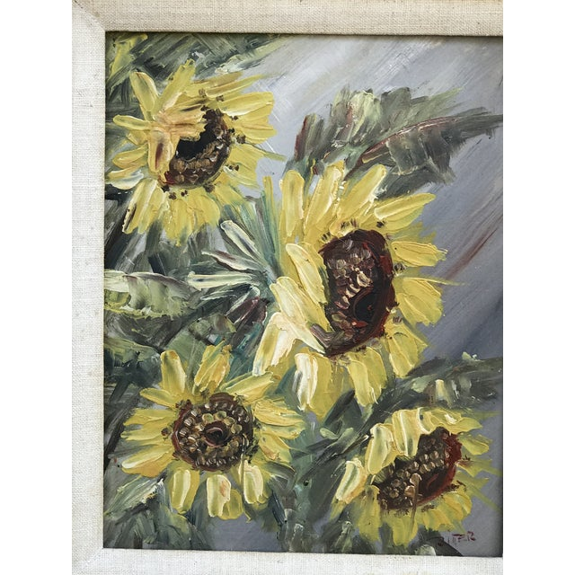 Mid-Century Impressionist Painting of Sunflowers For Sale - Image 4 of 10