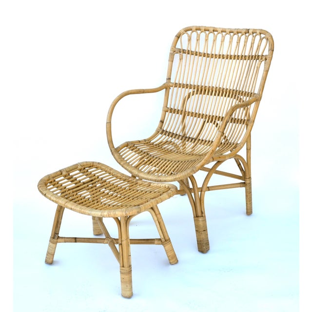 Wood Vintage Rattan Bamboo Chair and Ottoman For Sale - Image 7 of 7