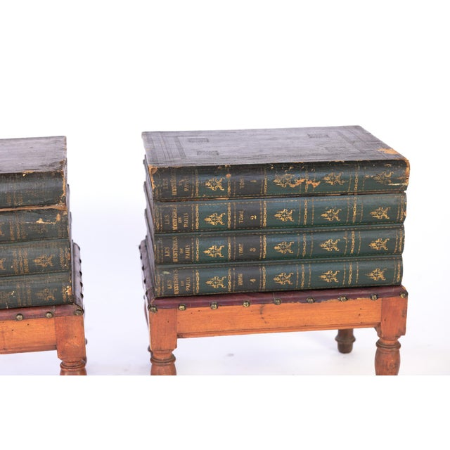 Wood French Faux Book Box End Tables on Turned Fruitwood Legs, Circa 1880 - a Pair For Sale - Image 7 of 9
