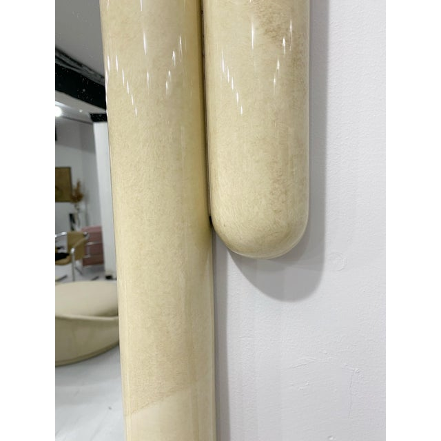 Postmodern Karl Springer Style Faux Goatskin Lacquered Mirror For Sale - Image 3 of 7