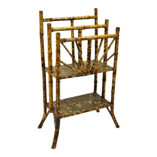 19th Century English Victorian Charred Bamboo 2 Tier Magazine Rack Stand For Sale