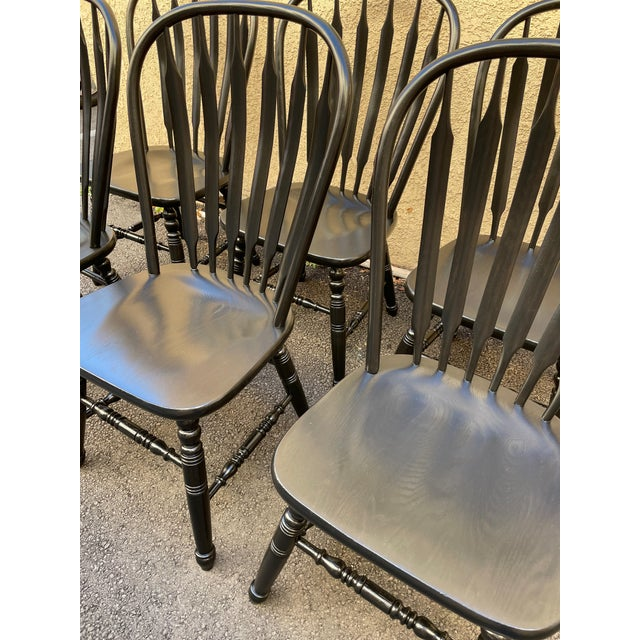 Set of 6 Black Stained Windsor Chairs For Sale - Image 11 of 12