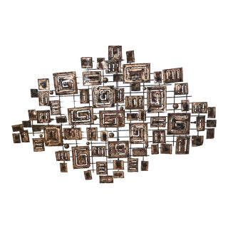 Vintage Mid-Century Modern Signed Curtis Jere Brutalist Metal Wall Art / Wall Sculpture For Sale