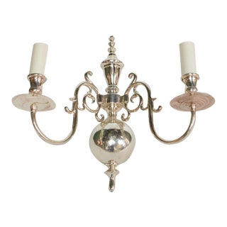 Two Arm Silverplate Sconce For Sale