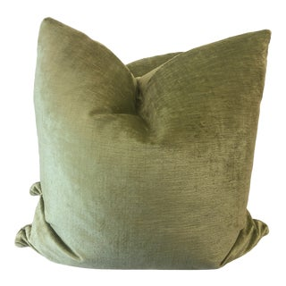 "Avocado Linen Velvet 22"" Pillows-A Pair For Sale"