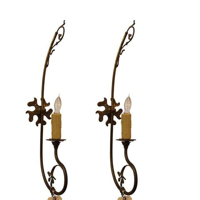Late 20th Century Brass Nouveau Sconces - A Pair For Sale - Image 5 of 5