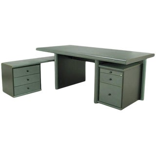 Mariani for Pace Grey-Green Leather Executive Desk and Credenza For Sale
