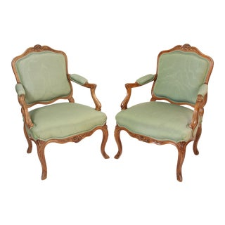 1920s Louis XV Style Carved Beech Wood Armchairs - a Pair