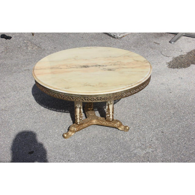1940s Art Deco Maison Jansen Bronze Onyx Top Round Coffee Table For Sale - Image 10 of 13