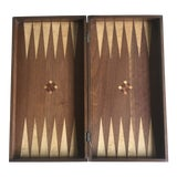 Image of Vintage Inlaid Wood Backgammon Board Game For Sale