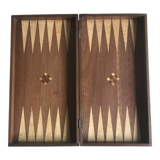 Vintage Inlaid Wood Backgammon Board Game For Sale