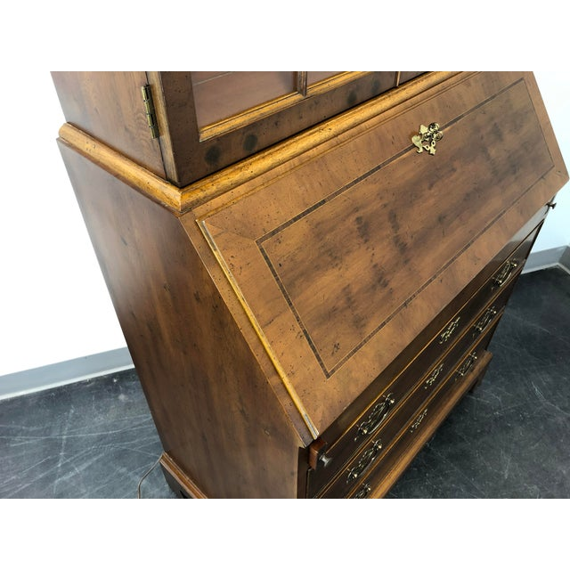 Metal Henredon Chippendale Double Bonnet Top Yew Wood Secretary For Sale - Image 7 of 13