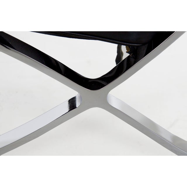 Mid Century Modern Black Leather and Chrome Steel Barcelona Chair, Circa 21st Century For Sale - Image 9 of 13