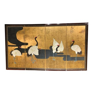 Japanese Edo or Showa Period Mid Century Hand Painted Screen For Sale
