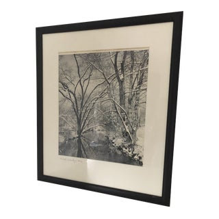 Vintage Black and White Photograph of Snow Covered River For Sale