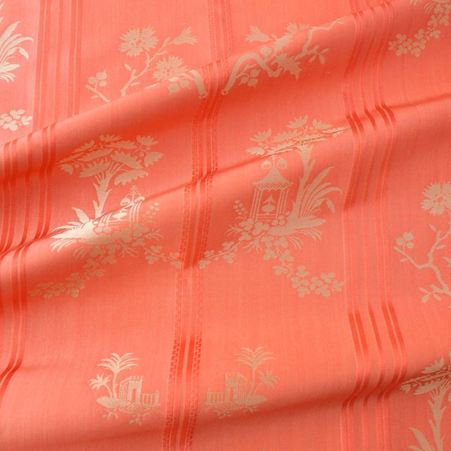 Inspired by an 18th century English watered silk, Pagoda depicts a play of fanciful Chinoiserie palms and pagodas, swagged...