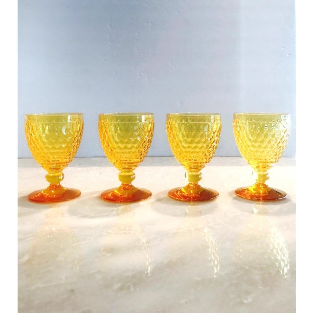 Glass Vintage Crystal Amber Colored Wine Glasses by Villeroy & Boch, Set of Eight For Sale - Image 7 of 13