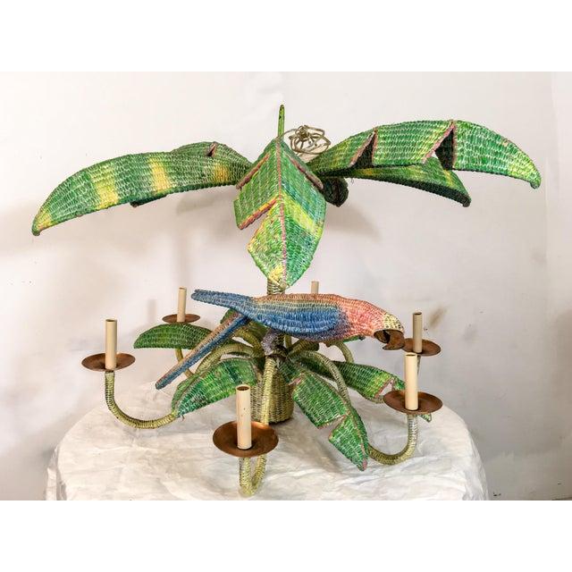 Mario Torres Wicker Parrot Chandelier For Sale - Image 5 of 5