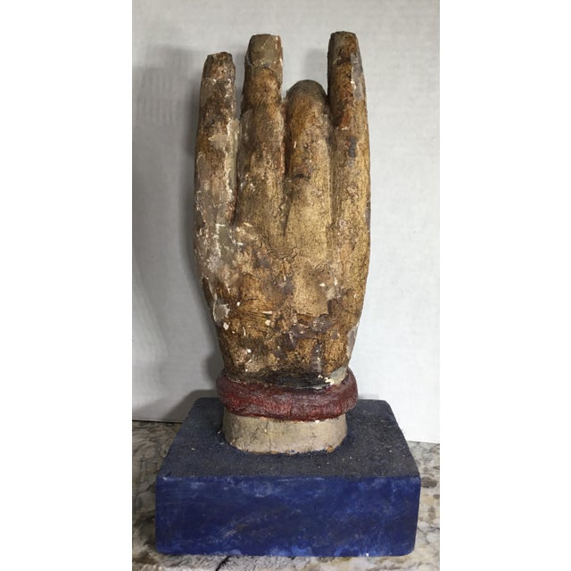 Wood Chinese Wood Buddha Hand Carving For Sale - Image 7 of 10