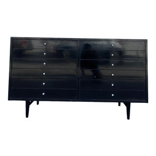 Mid Century Modern American of Martinsville Black Lacquered 6 Drawer Dresser For Sale