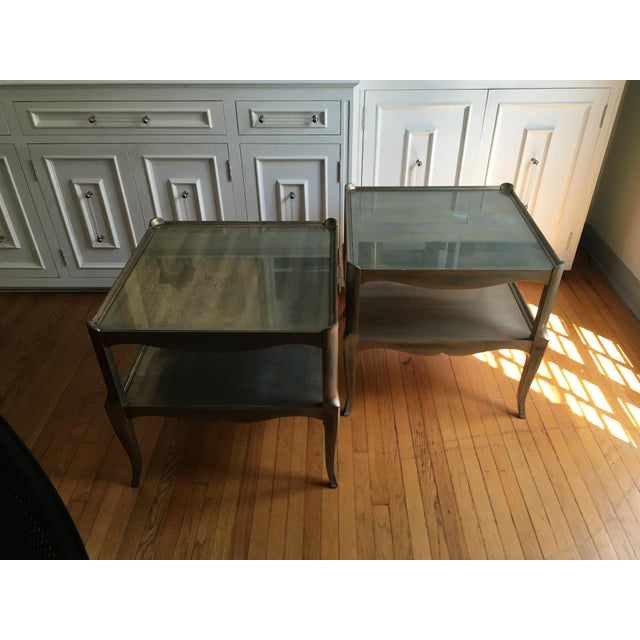 Leafed Glass Top Side Tables - a Pair For Sale - Image 13 of 13