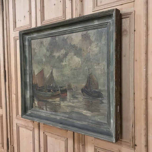 Mid-Century Framed Oil Painting on Canvas by Hubert De Vries For Sale - Image 10 of 11