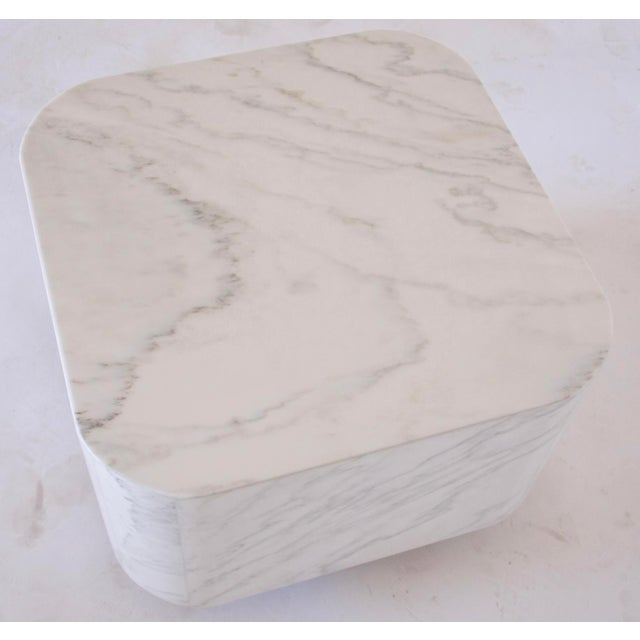 White Marble Plinth Base Table For Sale - Image 5 of 7