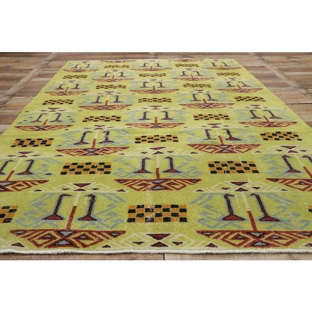 Textile Vintage Zeki Muren Distressed Turkish Sivas Rug - 6′4″ × 9′5″ For Sale - Image 7 of 10