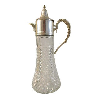 Italian Silver & Glass Wine Carafe For Sale