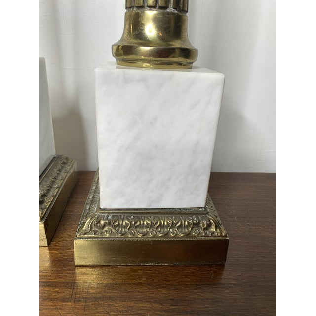 Mid Century Marble and Brass Lamps - a Pair For Sale - Image 4 of 11