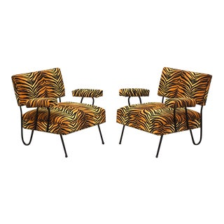 Tiger Print Mid-Century Modern Wrought Iron Lounge Chairs - a Pair For Sale
