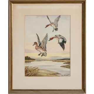 "Mid 20th Century ""Ducks in Flight"" Watercolor Painting by Jean Herblet, Framed For Sale"