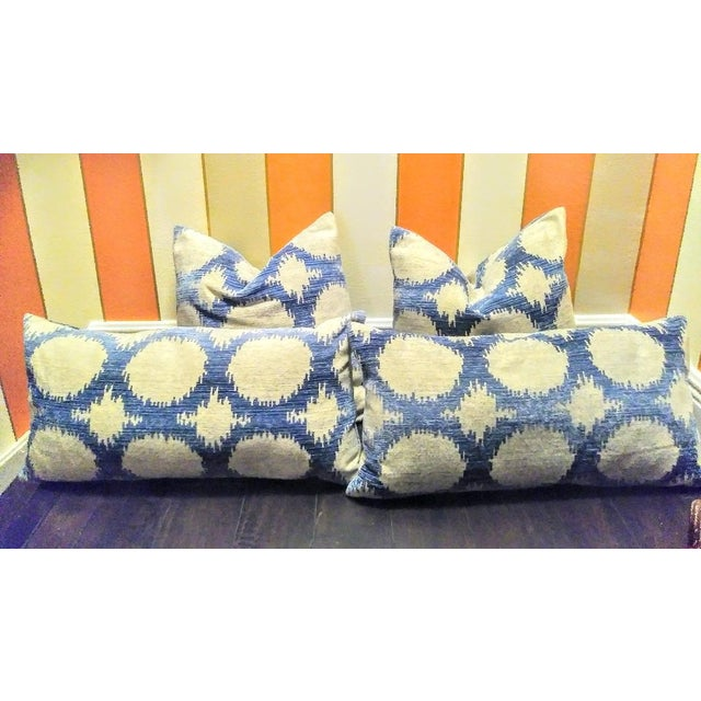 Set of 4 Down Stuffed Blue Silver Geometric Throw Pillows For Sale - Image 4 of 4