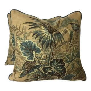 Boho Chic Thibaut Printed Pillows - a Pair For Sale
