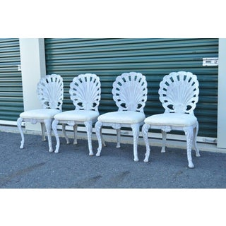 4 Vintage Pulaski Hollywood Regency Cast Iron Shell Grotto Patio Dining Chairs Preview