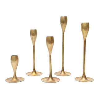 Vintage Graduated Brass Candlestick Candle Holders - Set of 5
