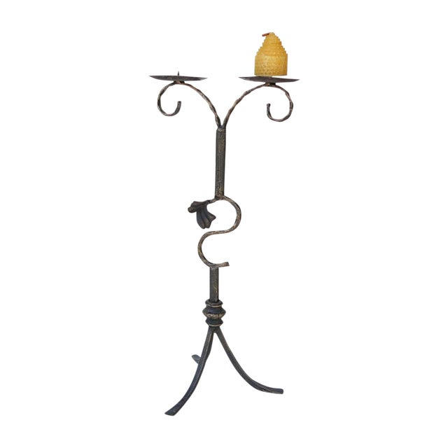 Decorative Metal Bronze Table Top Candle Holder For Sale - Image 5 of 5