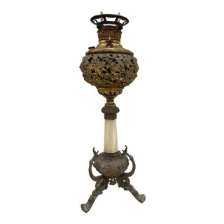 Vintage Miller Brass and Marble Oil Lamp For Sale