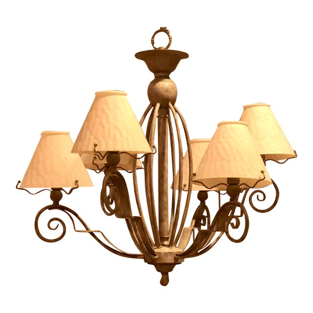 Vintage Transitional Patinated 6 Arm Chandelier With Shades For Sale