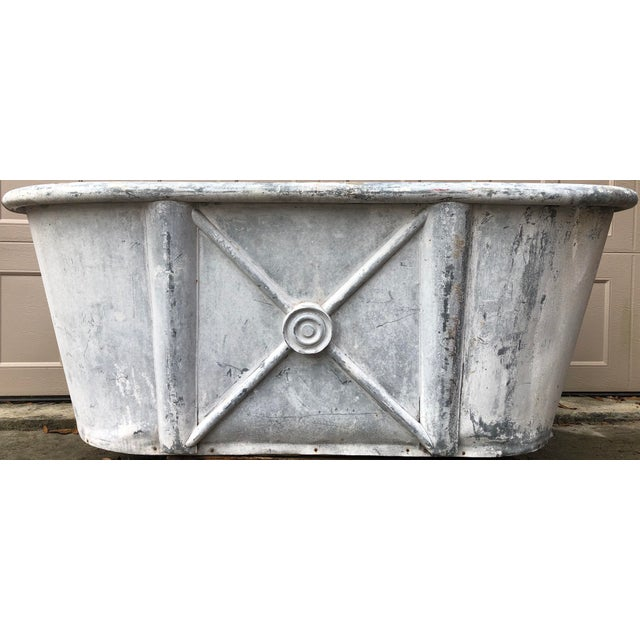 A Very Rare French Louis XV Zinc Roll Top Bathtub. This antique French bathtub has a stunning aged finish. Classic...