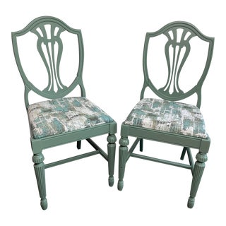 Sage Green Shield Back Chairs - a Pair For Sale