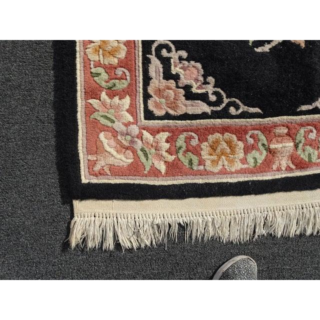 "Vintage Oriental Asian Black W Pink Floral Print Area Rug 43"" X 75"" For Sale - Image 9 of 13"